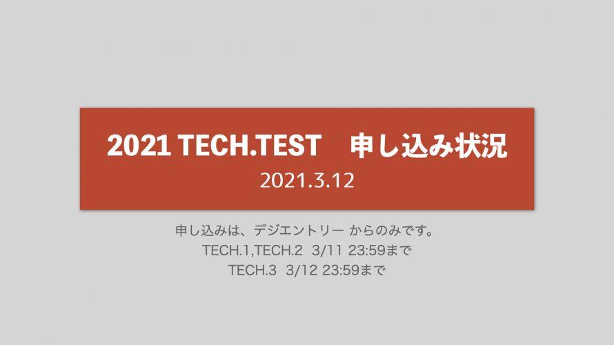 TECH.TEST申し込み状況【2021.3.12 8:30 確認】